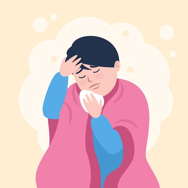 Uma pessoa com um resfriado e febre Vetor grátis