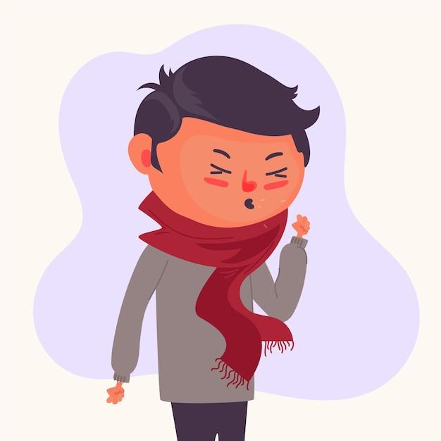 Uma pessoa com um resfriado Vetor grátis