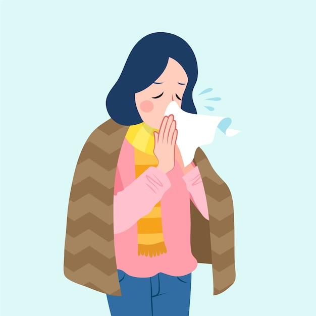 Uma pessoa com uma ilustração fria Vetor grátis