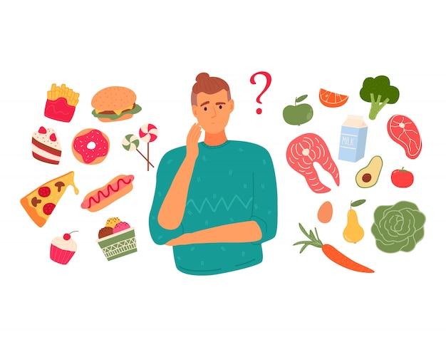 Uma pessoa escolhe entre fast-food e comida saudável e animada. conceito de dieta. Vetor Premium