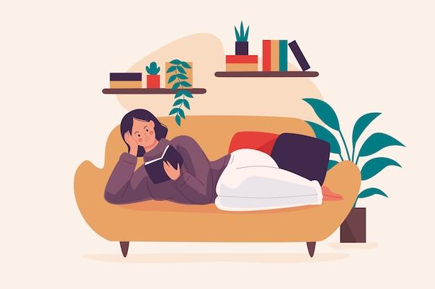 Uma pessoa relaxando em casa Vetor grátis