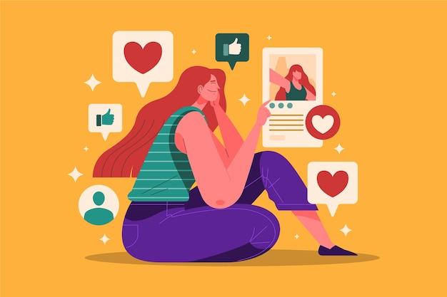 Uma pessoa viciada em ilustração de mídia social Vetor grátis