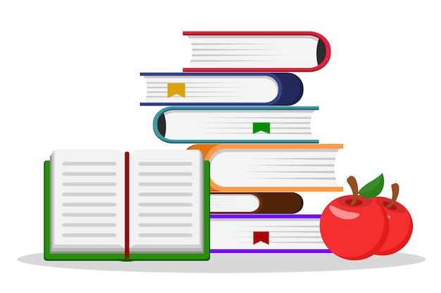 Uma pilha de livros, um livro aberto e duas maçãs vermelhas em um fundo branco. Vetor Premium