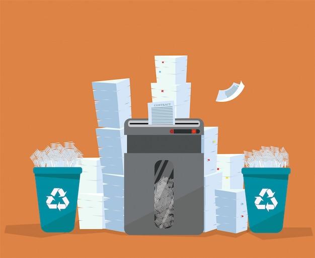 Uma pilha de papel e documentos está acima do triturador de chão grande. . muitos conceito de papelada. enormes pilhas de lixeiras de papel e plástico usadas cheias de pedaços de papel. ilustração dos desenhos animados plana Vetor Premium