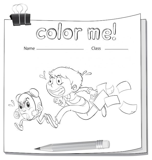 Uma planilha de coloração com um menino Vetor grátis