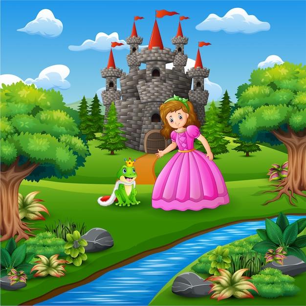 Uma princesa de conto de fadas bonita e o príncipe de sapo Vetor Premium