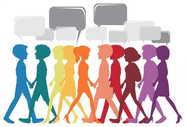 Uma rede de pessoas diferentes Vetor grátis