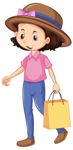 Uma sacola de compras feliz menina Vetor grátis