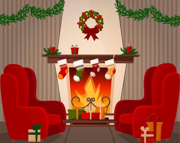 Uma sala com lareira e duas poltronas. decorações de natal, cinzéis e grinaldas Vetor Premium