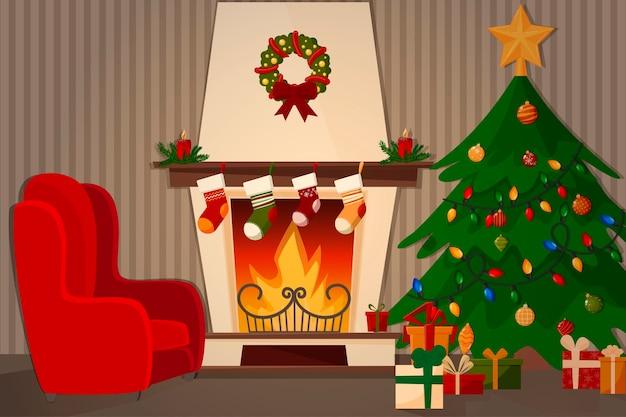 Uma sala com lareira, poltrona e uma árvore de natal decorada. Vetor Premium