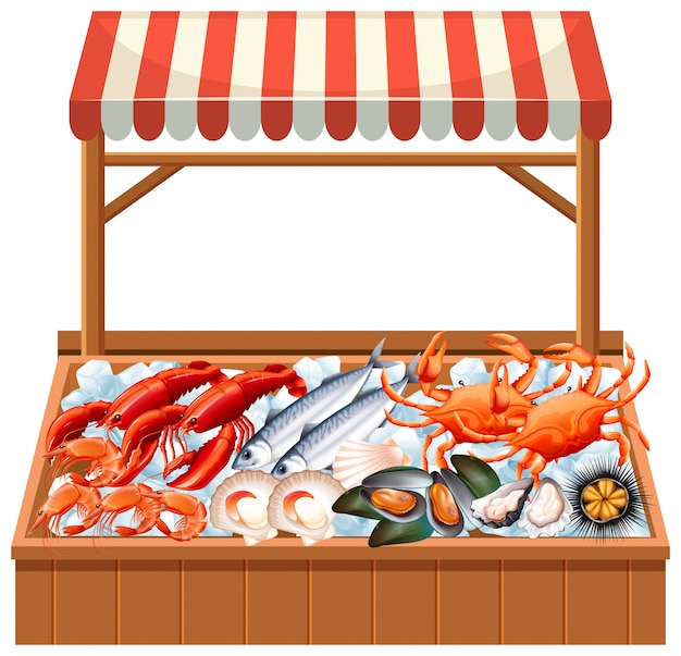 Uma tenda de frutos do mar no fundo branco Vetor Premium