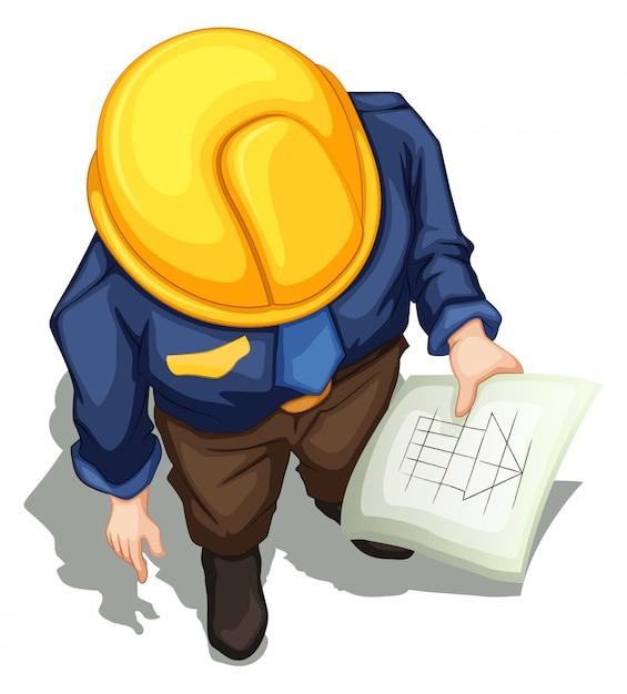 Uma topview de um engenheiro trabalhando Vetor grátis