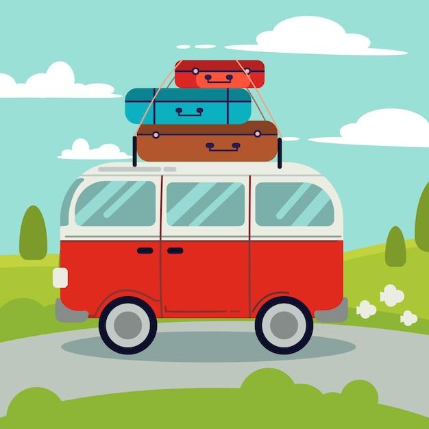 Uma van vermelha na estrada. acima da van vermelha tem muitos saco para uma boa viagem. Vetor Premium