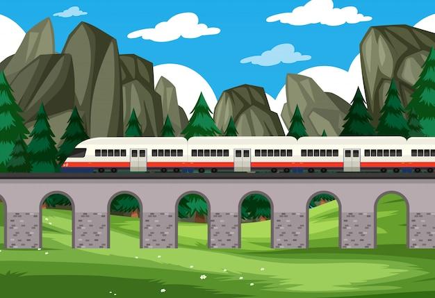 Uma viagem de trem moderno para fundo de natureza Vetor Premium