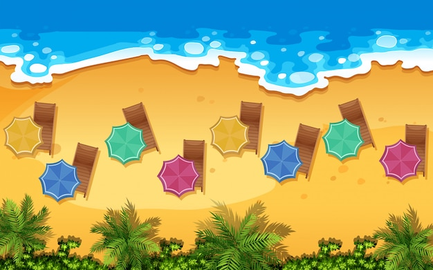 Uma vista aérea da praia Vetor Premium
