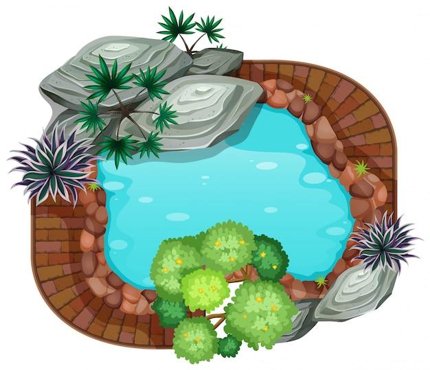 Uma vista aérea lagoa Vetor Premium