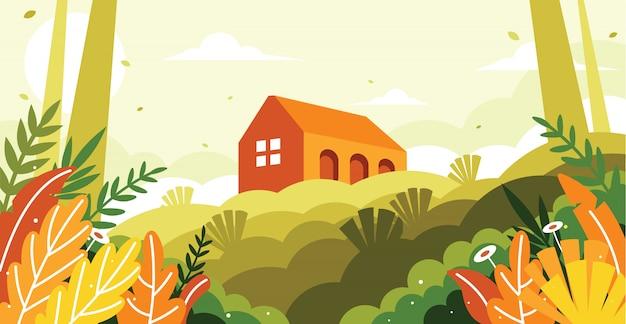 Uma vista de um edifício em uma ilustração de colina Vetor Premium
