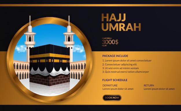 Umrah de luxo elegante moderno e excursão modelo de publicidade de viagens com kaaba ilustração realista com céu azul com moldura dourada do círculo. Vetor Premium