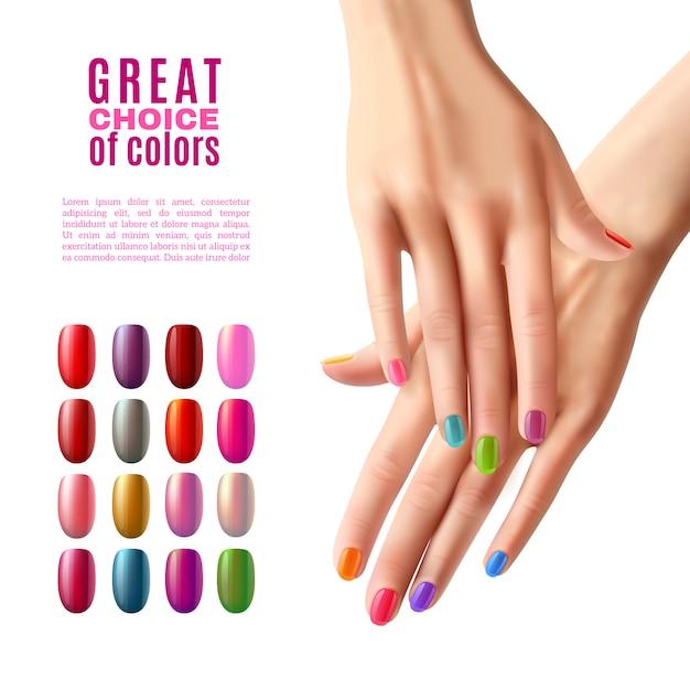 Unhas coloridas definir mãos manicure poster Vetor grátis
