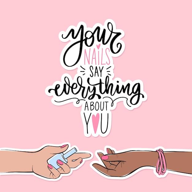 Unhas e manicure banner ou cartaz ilustração. mãos femininas com cores de pele diferentes. esmalte rosa Vetor Premium