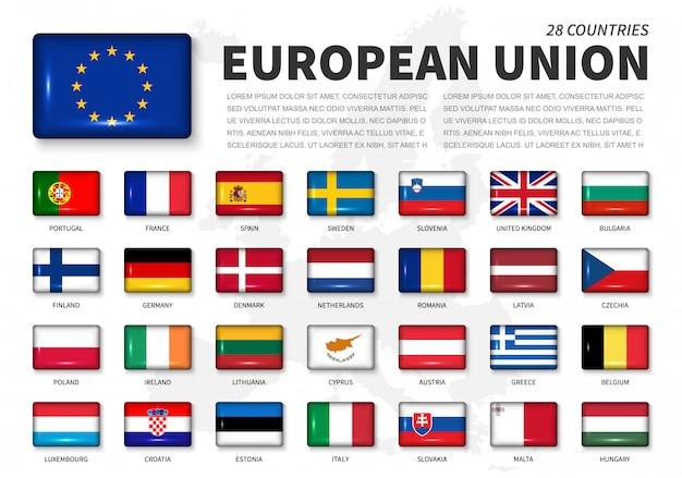 União européia (ue) e bandeira de associação Vetor Premium