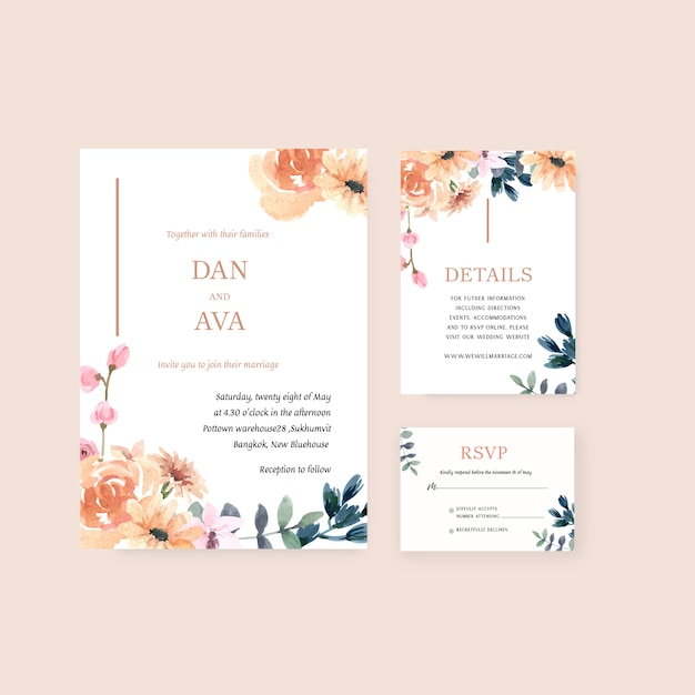 União floral feliz do cartão do convite do jardim do cartão de casamento, detalhe do rsvp. Vetor grátis