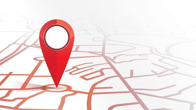 Único gps pin ícone cor vermelha simulado formulário o mapa de rua no fundo branco Vetor Premium