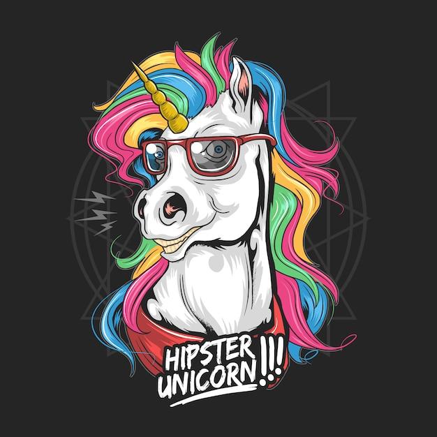 Unicorn hipster use vidros cabelo arco-íris cor muito bonito Vetor Premium