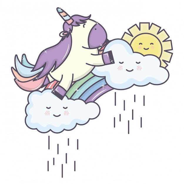 Unicórnio adorável fofo com nuvens chuvosas e arco-íris Vetor grátis