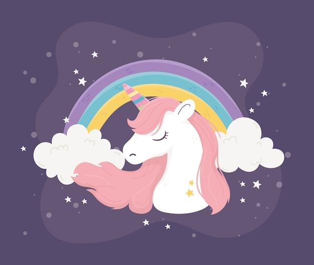 Unicórnio arco-íris nuvens estrelas fantasia magia sonho bonito desenho animado fundo escuro ilustração Vetor Premium