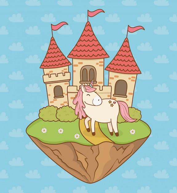 Unicórnio bonito conto de fadas com castelo na paisagem Vetor Premium