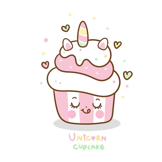 Unicórnio bonito cupcake dos desenhos animados cor pastel Vetor Premium