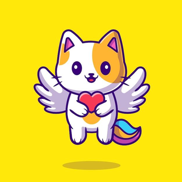Unicórnio bonito do gato segurando a ilustração do ícone dos desenhos animados do coração. Vetor grátis