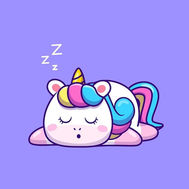 Unicórnio bonito dos desenhos animados dormindo. conceito de ícone de natureza animal isolado. estilo flat cartoon Vetor grátis