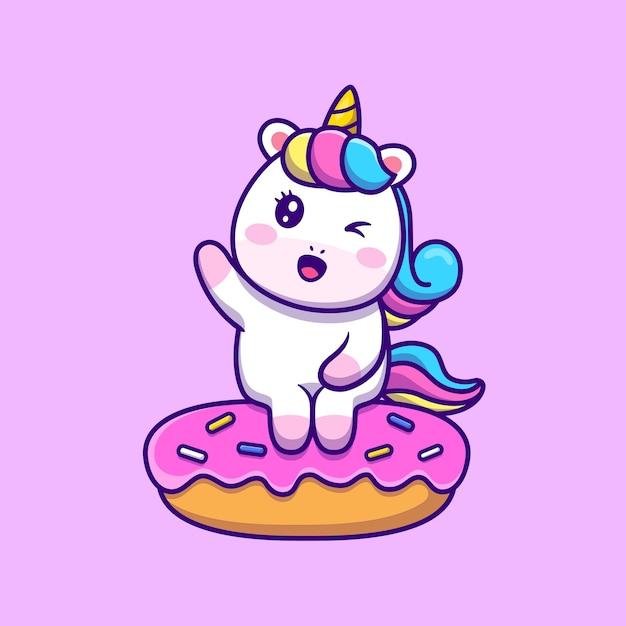 Unicórnio bonito sentado na donut cartoon vector icon ilustração. Vetor grátis