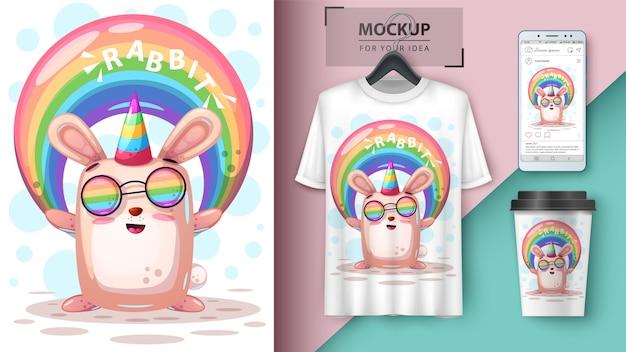 Unicórnio de coelho de arco-íris e merchandising Vetor Premium
