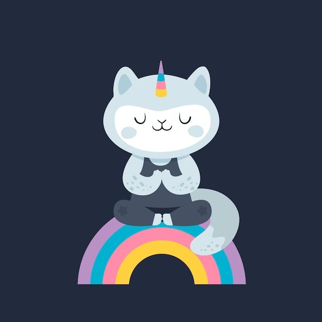 Unicórnio de gato. vaquinha da ioga no arco-íris. estilo de vida saudável. Vetor Premium