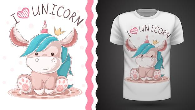 Unicórnio de pelúcia fofo. idéia para impressão t-shirt Vetor Premium