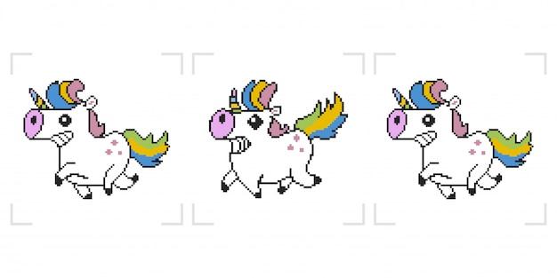 Unicórnio de pixel. animação do jogo de 8 bocados isolada no fundo branco. Vetor Premium