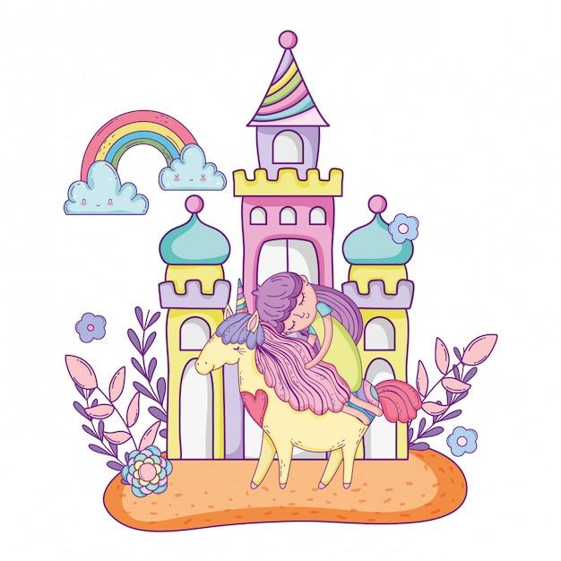 Unicórnio e princesa com castelo na paisagem Vetor Premium