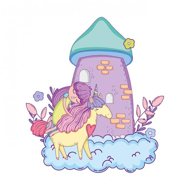 Unicórnio e princesa com castelo nas nuvens Vetor Premium