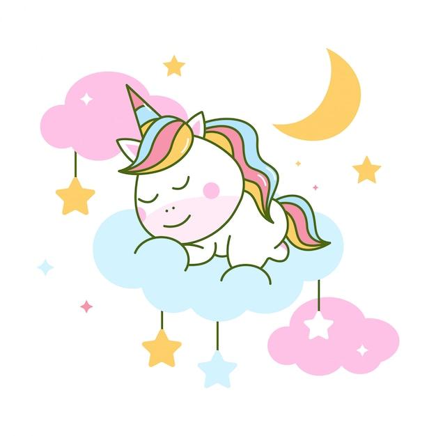 Unicórnio fofo dormindo na nuvem Vetor Premium
