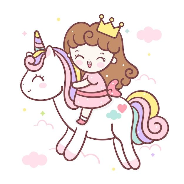 Unicórnio fofo e pequena princesa dos desenhos animados Vetor Premium