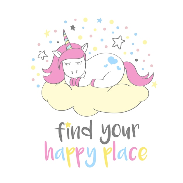 Unicórnio fofo mágico no estilo cartoon com letras de mão: encontrar o seu lugar feliz Vetor Premium