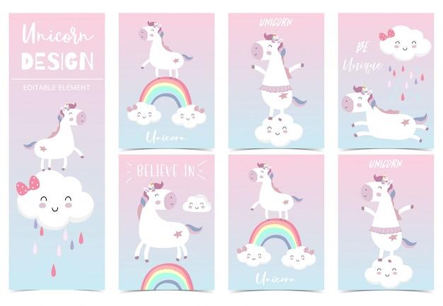 Unicórnio garoto bonito, arco-íris, rosa, nuvem para convite de aniversário Vetor Premium