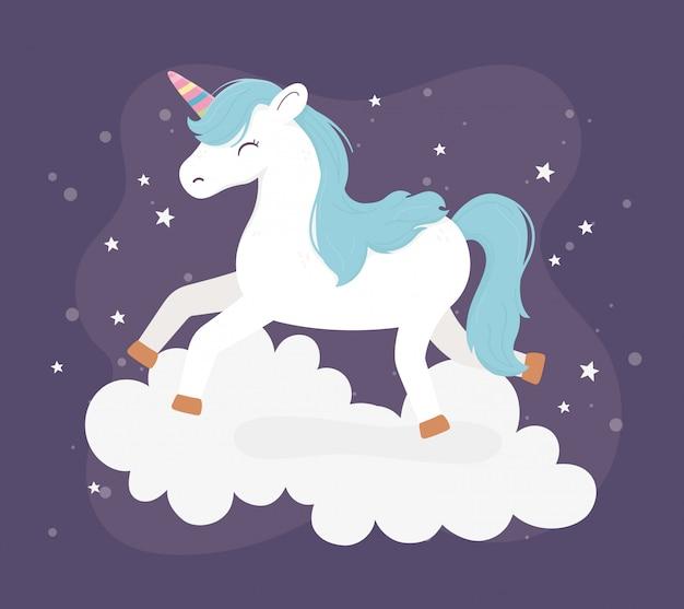 Unicórnio, salto, nuvens, estrelas, fantasia, sonho mágico, bonito, caricatura, escuro, fundo, ilustração Vetor Premium