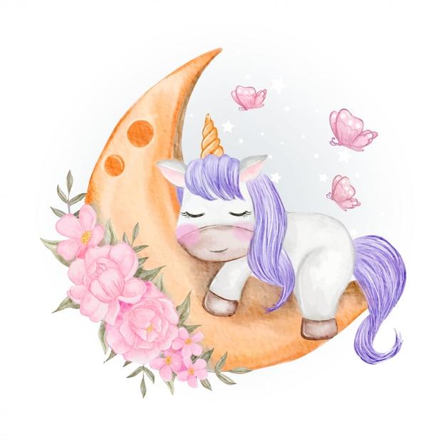 Unicórnios bebê dormindo na lua com flores e borboletas Vetor Premium