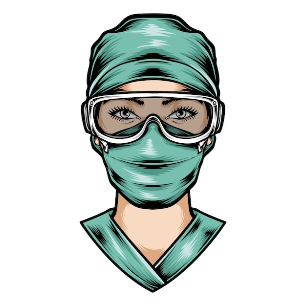 Uniforme da cirurgia do desgaste da enfermeira Vetor Premium