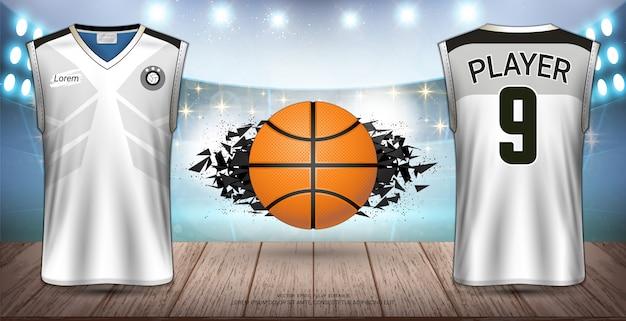 Uniforme de basquetebol e design de jersey. Vetor Premium