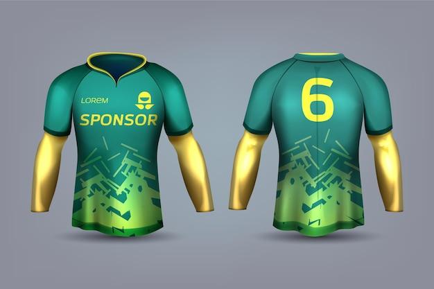 Uniforme de camisa de futebol verde e amarelo Vetor Premium